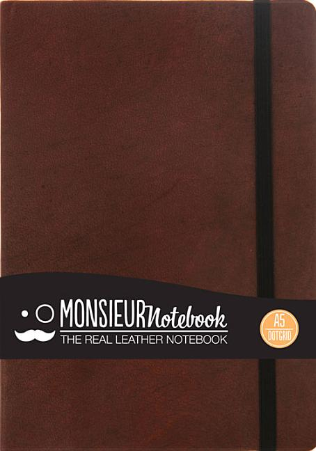 Monsieur Notebook Brown Leather Dot Grid Medium. Hide Stationery Ltd