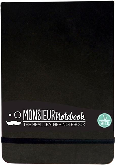 Monsieur Notebook Black Leather Sketch Landscape Medium. Hide Stationery Ltd