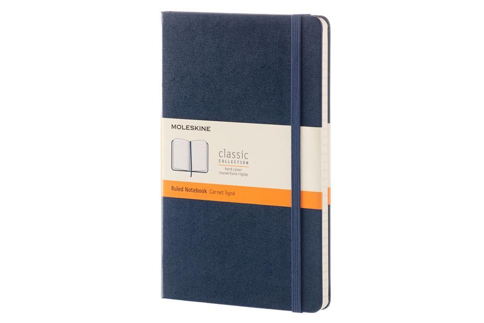Moleskine Classic Notebook, Large, Ruled, Sapphire Blue, Hard Cover and Moleskine Classic Click Ball Pen, Royal Blue, Large Point, Black Ink