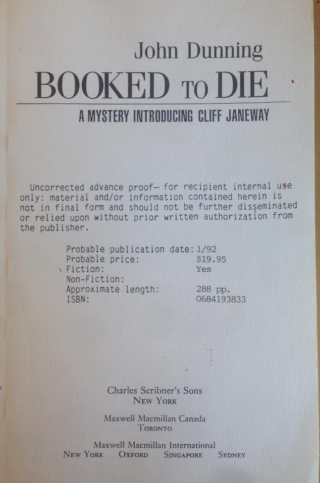 Booked to Die: A Mystery Introducing Cliff Janeway. John Dunning.