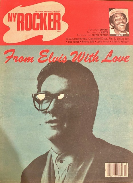 New York Rocker, October 1982. Elvis Costello. Andy Schwartz, Robert Palmer, Gerard Cosloy, Michael Hill, Jody Harris.