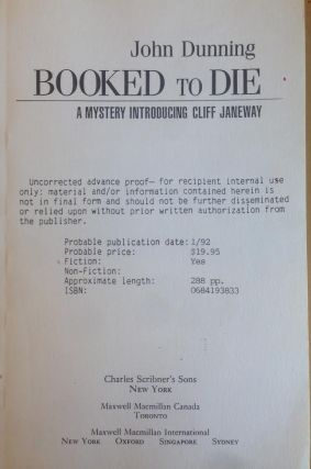 Booked to Die: A Mystery Introducing Cliff Janeway. John Dunning