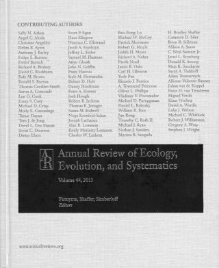 Annual Review of Ecology, Evolution, and Systematics 2013