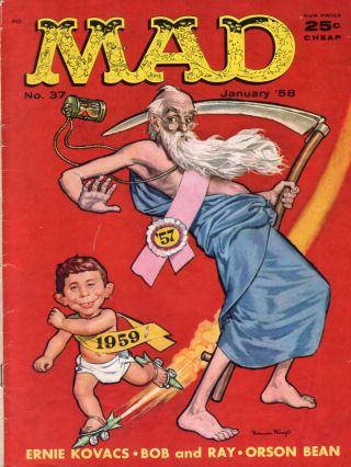 Mad Magazine (January 1958 No. 37;). William M. Gaines, Ernie Kovacs, Orson Bean, Don Martin,...